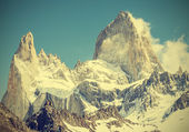 Fitz Roy Mountain Range, Argentina, vintage retro style.  — Stock Photo