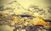 Tents in Everest Base Camp in cloudy day, Nepal, vintage effect. — Stock Photo