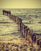 Wood pilings on beach, vintage retro instagram effect. — Stock Photo
