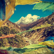 Prayers flags in Himalaya mountains, Nepal, vintage retro style. — Stock Photo #48780225