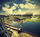 Village on water, Inle Lake, Burma (Myanmar), vintage retro inst — Stock Photo