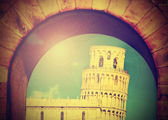 Vintage image of Leaning tower of Pisa, Italy. — Stock Photo