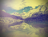Vintage mountain view of Everest Region with lake, Nepal. — Stock Photo