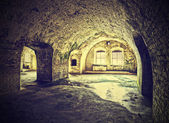 Vintage picture of dungeon, cellar in retro style. — Stock Photo