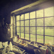 Window in carpenter's workshop, vintage style. — Stock Photo #49310513
