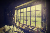 Window in carpenter's workshop, vintage style. — Stock Photo