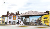 Colorful and realistic graffiti decorating one of main streets in Punta Arenas. — Stock Photo