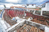 Shipwreck on Old Boat Scrap Yard. — Stock Photo