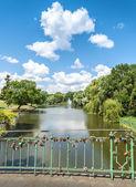 Bridge with padlocks in park. — 图库照片
