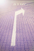 Stop and direction street sign, vintage effect. — Stockfoto
