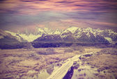 Vintage picture of Andes, Fitz Roy mountain range, Argentina  — Stock Photo