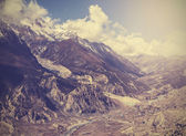 Beautiful vintage mountain landscape, Himalayas in Nepal. — Stock Photo