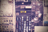 Vintage aerial picture of street in New York City, USA — Stock Photo