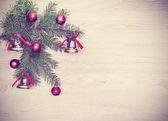 Vintage Christmas background, decoration on a wooden board. — Stock Photo