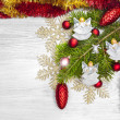 Christmas background with angels, decoration on a wooden board. — Stock Photo #51399463