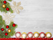 Christmas background, decoration on a wooden board. — Stock Photo