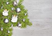 Christmas background, decoration on a wooden board. — ストック写真