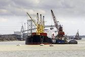 Cargo ship loading in the port. — Stock Photo