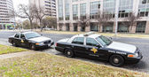 State troopers cars parked in University of Texas. — Stok fotoğraf