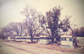 Vintage picture of american house trailers estate, USA. — Stock Photo