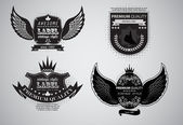 Collection of vintage labels with wings — Stock Vector