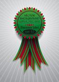 Pictogram met rode en groene lint — Stockvector
