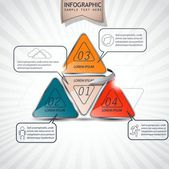 Infographics as triangles, four - options — ストックベクタ