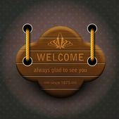 Signboard - welcome to us. — Stockvector