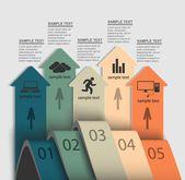 Encima de las flechas para infografía — Vector de stock