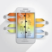 Infographics mobile timelines — Vettoriale Stock