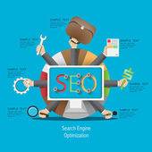 SEO process in a flat style — Stock Vector