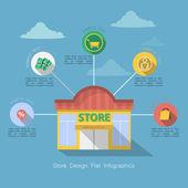 Store flat ui design infographic — Vector de stock