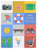 Summer flat design objects icons — Stock Vector