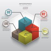 3d columns paper design infographics element — Stock Vector
