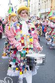 Focused musician in carnival parade — Stock Photo