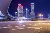 Shanghai Huangpu River sunset the Bund buildings and traffic — Stock Photo
