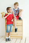 Boys playing in the room — Stock Photo