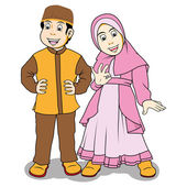 Moslem children — Vector de stock
