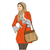 Moslem Woman Shopping — Stockvector
