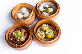 Various dim sum in bamboo steamed bowl — Stock Photo