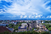 Blue sky background with tiny clouds and cityscape on top view — Stock Photo