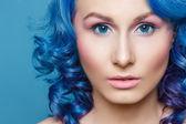 Frau haare, blau — Stockfoto