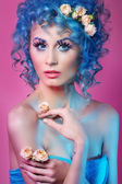 Portrait of beautiful girl with blue hair tale — Stock Photo
