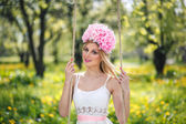 Woman and nature with flower — Stock Photo