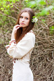 Portrait of beautiful girl in spring — Stock Photo