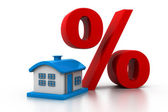 House with a big  symbol of percent — Stock Photo