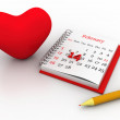 Stock Photo: Valentines Day Calendar Page with Heart