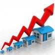 Growth in real estate shown on graph — Stock Photo