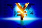 3d golden Yen sign with world — Stock Photo