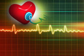Cardiogram, love and stethoscope on abstract background — Stock Photo